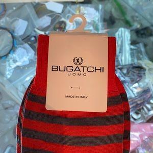 NWT BUGATCHI DRESS SOCKS STRIPED GRAY,BURNT ORANGE